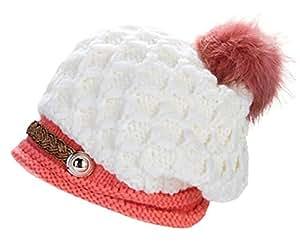 Women Knit Snow Hat Winter Snowboarding Beanie Crochet Cap (White)