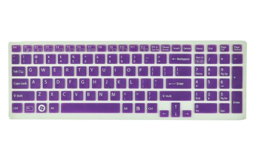 Silicone Laptop Keyboard Benefactress Skin Cover for Sony Vaio Pcg-61511T, E15, S15, F219, F24, EB, EE, EH, EL, CB, SE, Series 15.5 inch With Tot up Pad on the right US Layout + Swan Service New Year card Case for Credit, Bank, ID Card (Purple Semitranspa
