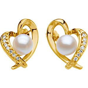 IceCarats Designer Jewelry 14K Yellow Gold Cultured Akoya And Diamond Heart Earring. Pair 07.00Mm/1/6Cttw