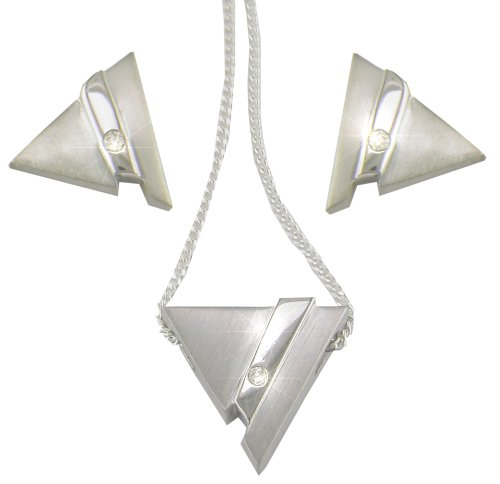 Silver  &  Diamond Ladies' Triangle Cube Earrings and 41cm Pendant Set