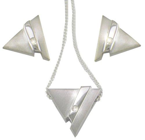 Silver & Diamond Ladies' Triangle Cube Earrings