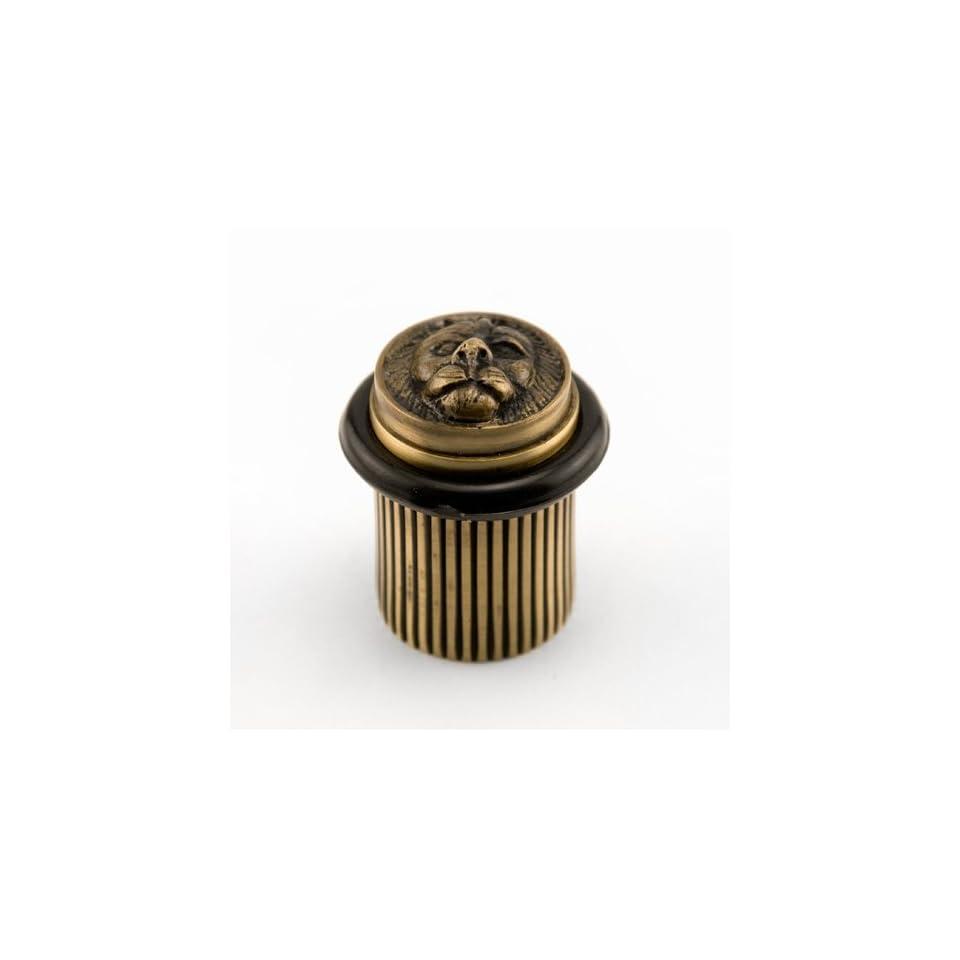 Solid Brass Lion Head Doorstop   Antique Brass