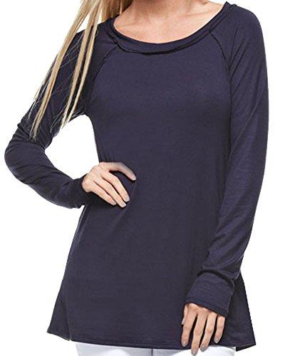 Marilyn main women 39 s raw edge long tunic fashion tee for Raw edge t shirt women s
