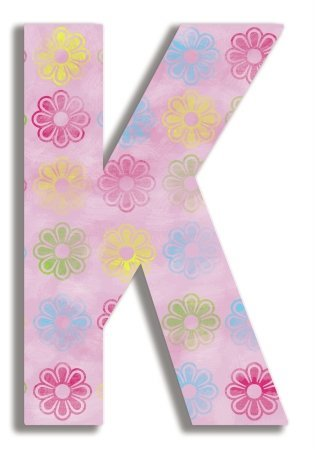 The Kids Room by Stupell Pink Modern Flower Hanging Wall Initial, K