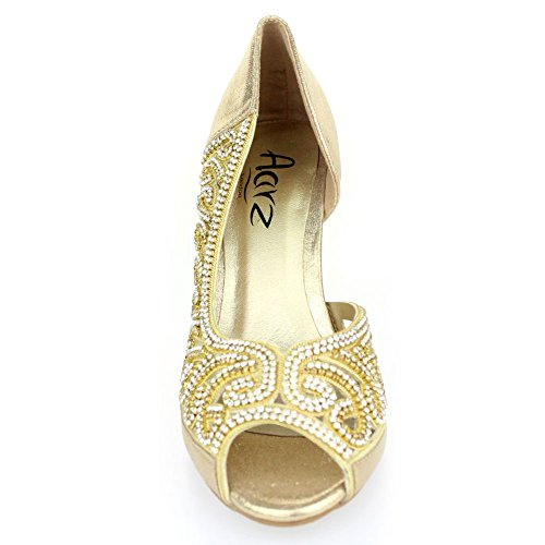 cef0567ee9cc Aarz Women Ladies Evening Diamante High Heel Sandal Prom Party ...
