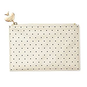 Kate Spade York Black and White Canvas Dot Zippered Bag from kate spade