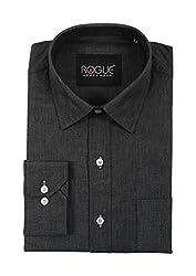 ROGUE URBAN WEAR Men's Formal Shirt (ROGFF05CRBNBLCK_L, Black, Large)
