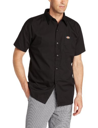 Dickies men 39 s plus size pearl button cook shirt black 5x for Size 5x mens dress shirts