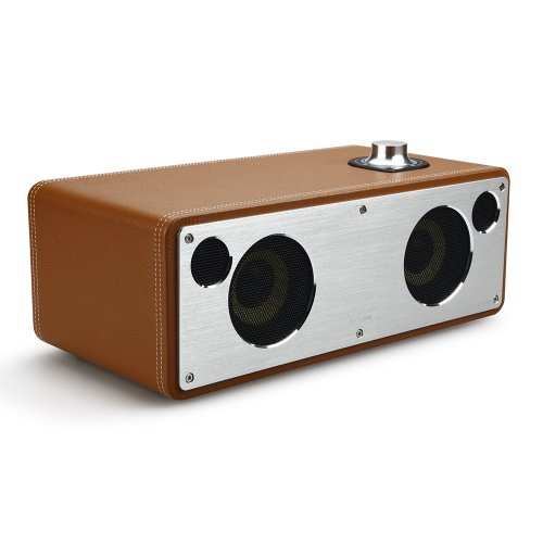 GGMM M-Freedom Wireless Plug-n-Play Built-in WiFi Home Audio Leather Speaker (Compatible with Apple Products)| 30W Output, Supports Airplay, DLNA, Spotify, Pandora (Tan)