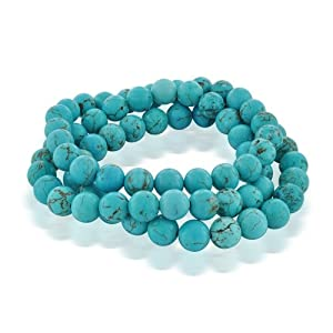 Bling Jewelry Set of 3 Stackable Gemstone Turquoise Bead Stretch Bracelet 8mm