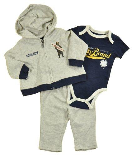 Lucky Brand Newborn Boys Heather Gray Hoodie 3Pc Pant Set (6/9M) front-629077