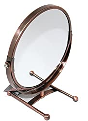 Megahome 7-inch Tabletop Two-sided Swivel Vanity Mirror with 5x Magnification, 8-inch Height,bronze Finish (Bronz)