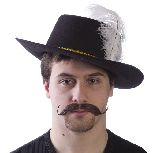 [HMS Men's Muskateer Hat, Black, One Size] (Adult Musketeer Costumes)