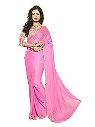 Parisha Light Pink Solid Saree