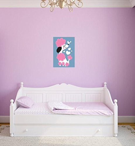 Design with Vinyl 3 Pro 18 Decor Item Pink Dog Cute Poodle Girl Kids Teen Wall Decal Peel and Stick Sticker Mural, 40 x 60-Inch