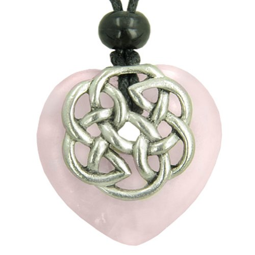 Amulet Celtic Shield Knot Puffy Heart Rose Quartz Gemstone Pendant Necklace