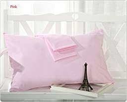 MoonRest (Set of 2) %100 Cotton Standard Pillowcase w/ french seams (Pink)