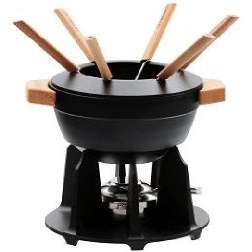 LeCreuset Fondue-Set mit Holzgriffen, schwarz Inhalt: 2,3l- für 6 Personen geeignet.Fonduetopf mit hitzebeständigen Holzgriffen, Spritzschutz, gusseisernen Standfuss für höchste Stabilität und reg
