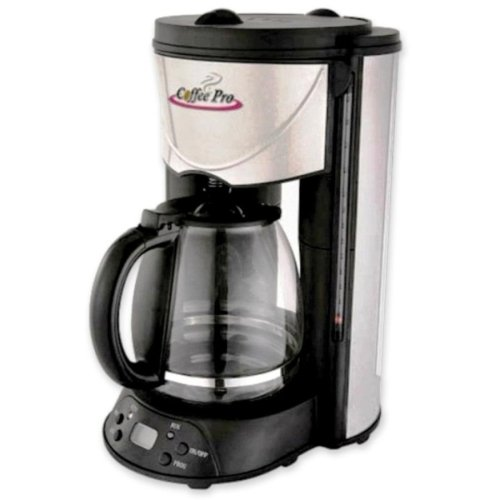 "Wholesale CASE of 5 - CoffeePro European-style Programmable Coffeemaker-Coffeemaker, 12-Cup, 8""x11""x14"", Stainless Steel/Black"