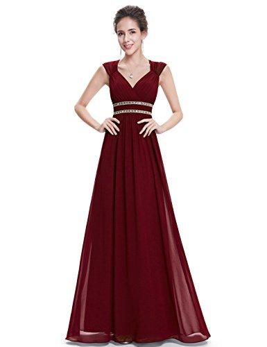 Ever Pretty Womens Floor Lenth Short Sleeve Graduation Dress 4 US Burgandy