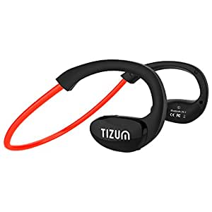 Tizum S-100 TRAINER Bluetooth V4.1 In-Ear Sports Headset with CVC 6.0-Noice Cancelling, IPX5-Sweatproof, HD Voice, 8-Hour Playtime, Built in Mic for Running, Sports, Handsfree Calling for Apple, Android, Microsoft Devices (Red)