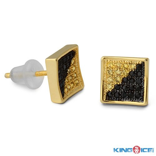 King Ice Yellow and Black Ice Out Earrings