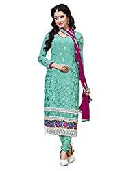 Lookslady Embroidered Turquoise Georgette Salwar Suit