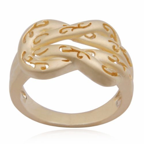 18k Yellow Gold Plated Sterling Silver Knot Ring, Size 8