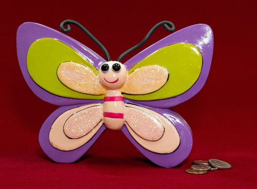 "7"" Whimsical Purple Butterfly Coin Piggy Bank - 1"