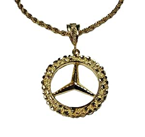 14k gold overlay mercedes large pendant with 24 chain for Mercedes benz pendant