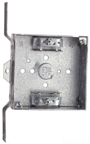 Steel City 52151-CVX Pre-Galvanized Steel Square Box with C-3 Non-Metallic Cable Clamps, CV-Bracket and 1/2-Inch and 3/4-Inch Eccentric Knockouts