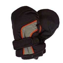 CP Infant Boys Black Gray & Orange Waterproof Snow & Ski Mittens