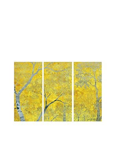 Oliver Gal Stone & Lichens Triptych Canvas Art