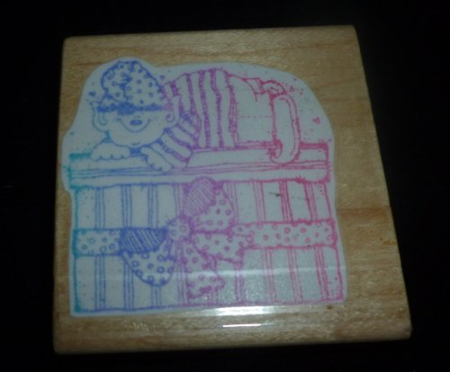 Elf And Christmas Present Rubber Stamp