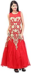 Arya The Design Gallery Women's Net Gown (A5227, Red, Small)