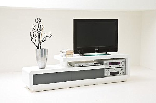 TV-lowboard, TV-Board, TV-Tisch Celia, hochglanz weiss mit Schubkasten