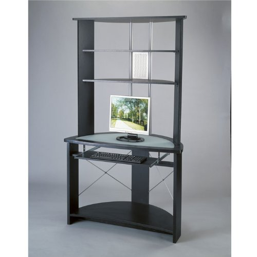 office star insignia glass top computer workstation with hutch in black - Glass Top Computer Desk