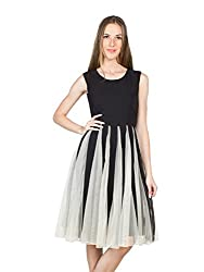 Panit Women's Georgette Dress (PANI32_Black_X-Large)