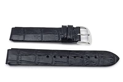 16mm by 18mm Black Genuine Alligator Grain Flat Padded Philip Stein Style Watch Band
