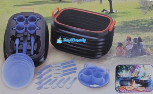 Magic Korb Foldable Bucket 16 Pc Picnic Basket