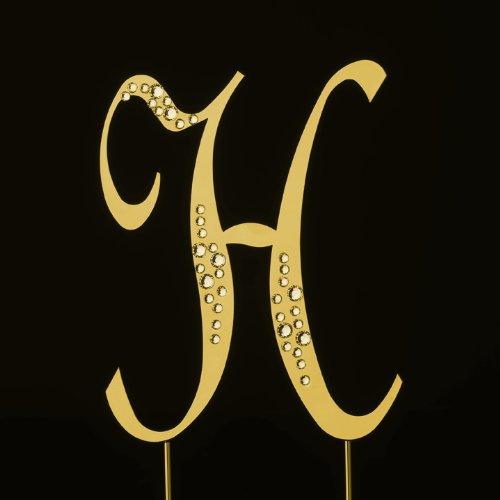 Raebella New York Swarovski Crystal Sparkle Cake Top Topper Gold Letter H (Large) front-329717