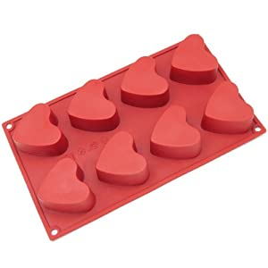 Freshware 8-Cavity Heart Muffin Silicone Mold and Baking Pan