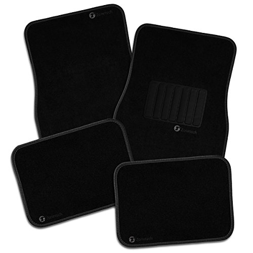 Zone Tech All Weather Carpet Vehicle Floor Mats- 4-Piece Black Premium Quality Carpet Vehicle Floor Mats Plus Vinyl Heel Pad for Additional Protection - Driver Seat, Passenger Seat and Rear Floor Mats (Car Floor Plastic Mats compare prices)