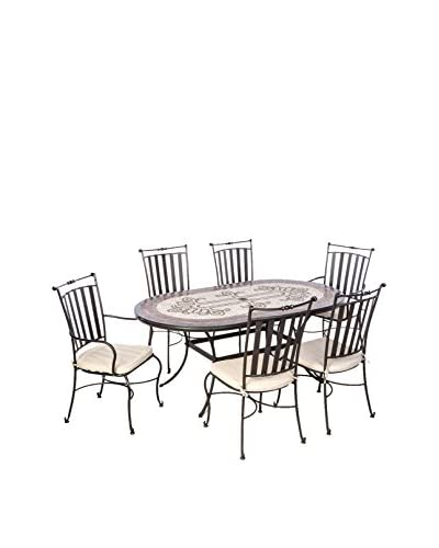 Alfresco Home Orvieto Mosaic 7-Piece Dining Set, Charcoal