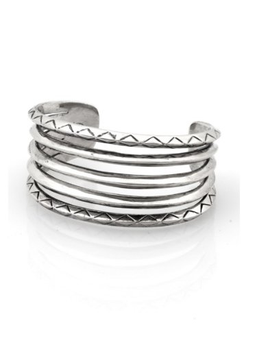 House of Harlow 1960 Jewelry Etched Stacked Cuff - Silver