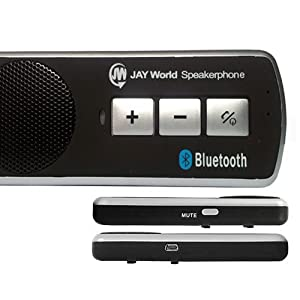JAY World Drive Safe Bluetooth Handsfree Car Kit. The Original Multipoint Bluetooth Speakerphone. Supports: Apple iPhone, Blackberry, HTC, Samsung, Galaxy S3, Galaxy S2, Sony, Nokia and any Bluetooth enabled device. Safer Driving. Uses low power consumption and DSP (Digital Signal Processing) for echo cancellation & noise suppression providing pure clear sound. Talk time up to 16 hrs. Standby time up to 45 days. Can be charged via laptop/pc or in car. Automatic switch off function after disconnection with phone saving power.