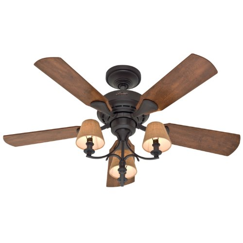 Hunter 28703 Newstead 46-Inch 5-Blade 3-Light Ceiling Fan, New Bronze with Oak/Wine Country Blades and Cloth Shades