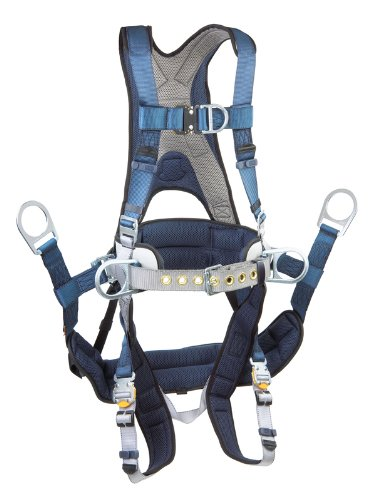 Dbi/Sala Exofit, 1108657 Tower Climbing Harness, Front/Back/Side D-Rings, Belt/Back Pad, Seat Sling W/Position D-Rings, Qc Buckles, Xl, Blue/Gray front-85973