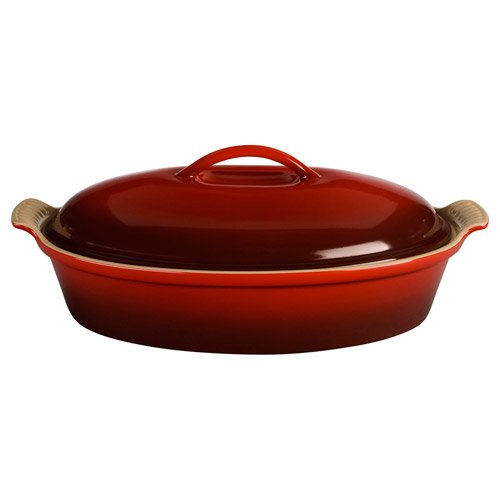 Le Creuset Stoneware 4-Quart Covered Oval Casserole, Cherry