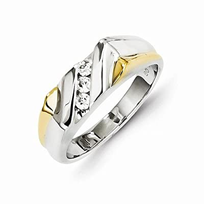 Solid 14k Two tone Gold Diamond Mens Wedding Ring Band (1/3 cttw) (7mm)